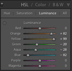 HSL lightroom adjustments